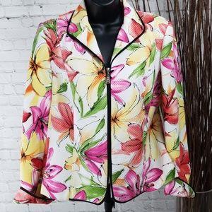 Requirements Floral Zip Up Jacket/Blazer